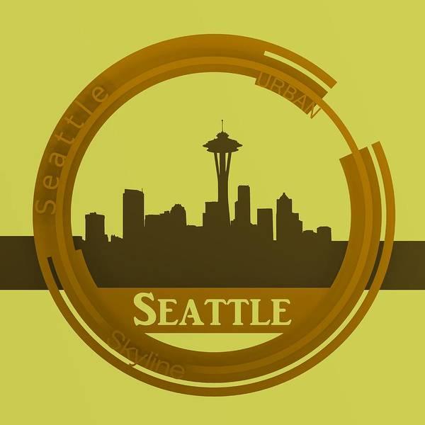 Digital Art - Ochre Seattle Skyline by Alberto RuiZ
