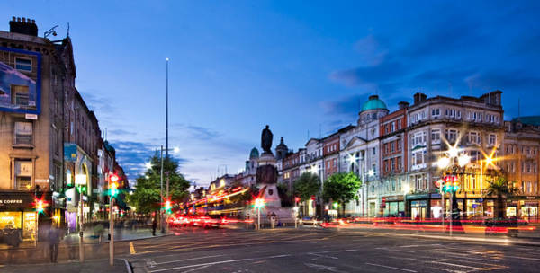 Photograph - O' Connell Street And Dublin Spire At Night by Barry O Carroll