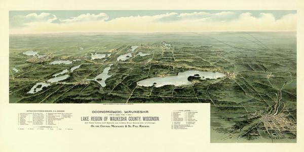 Vintage Chicago Painting - Oconomowoc, Waukesha And The Lake Region Of Waukesha County, Wisconsin, Chicago by Richards Engraving