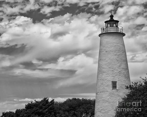 Ocracoke Lighthouse Photograph - Ocracoke Island Lighthouse Black And White by Tom Gari Gallery-Three-Photography