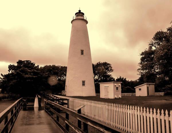 Ocracoke Lighthouse Photograph - Ocracoke Island Lighthouse - Sepia by Phyllis Taylor
