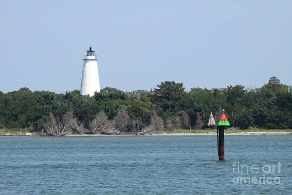 Ocracoke Lighthouse Photograph - Ocracoke Lighthouse From The Sea by Christiane Schulze Art And Photography