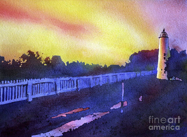 Wall Paper Painting - Ocracoke Lighthouse- North Carolina by Ryan Fox