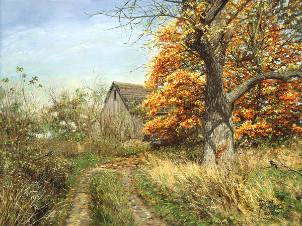 Red Barn Painting - October Glory by Doug Kreuger