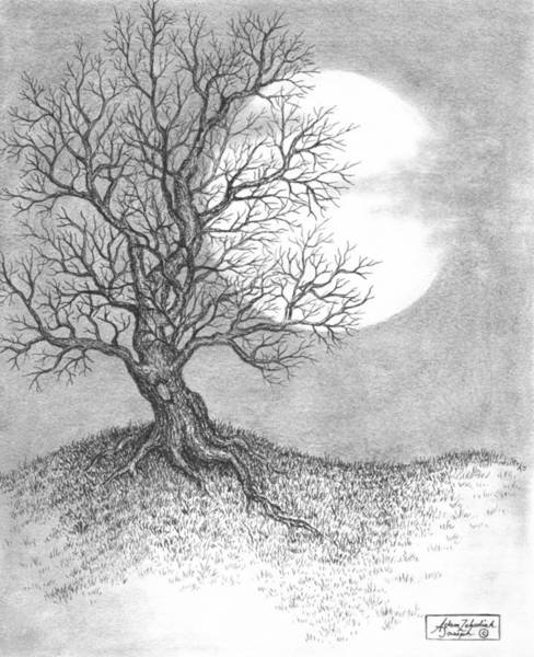 Ink Pen Drawing - October Moon by Adam Zebediah Joseph