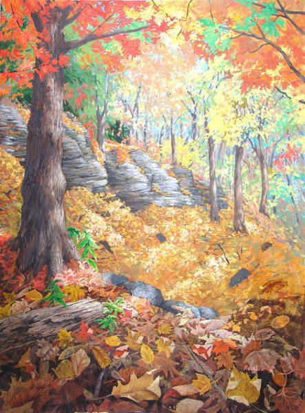 Wall Art - Painting - October Mount Royal by Rose Wark