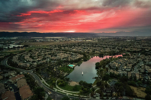 Photograph - October Sunset After The Rain Lake Harveston by Adam Rainoff