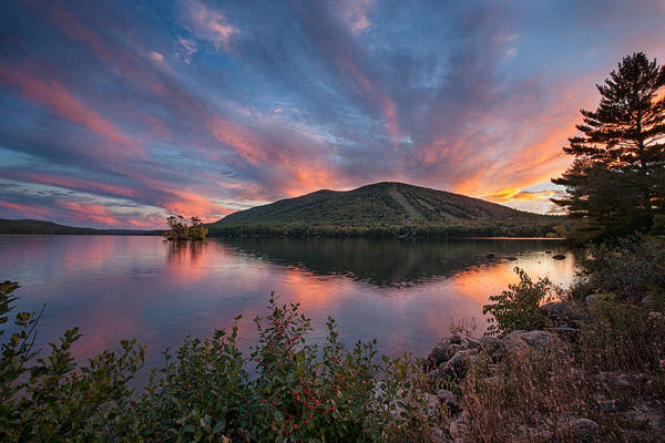 Pleasant Photograph - October Sunset Over Pleasant Mountain by Darylann Leonard Photography