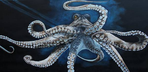 Fish Painting - Octopus by Alyssa Rosales