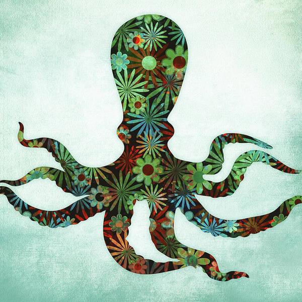 Tentacles Digital Art - Octopus Dark Floral Watercolor by Flo Karp