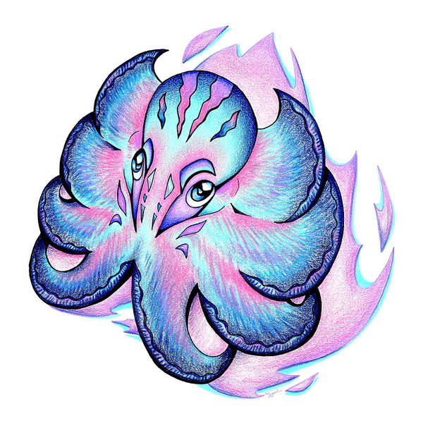 Dark Pink Drawing - Octopus I by Sipporah Art and Illustration