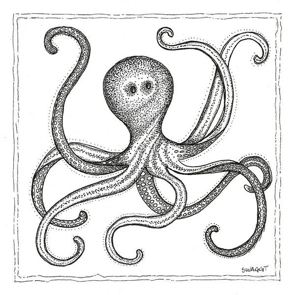 Beach Life Wall Art - Drawing - Octopus by Stephanie Troxell