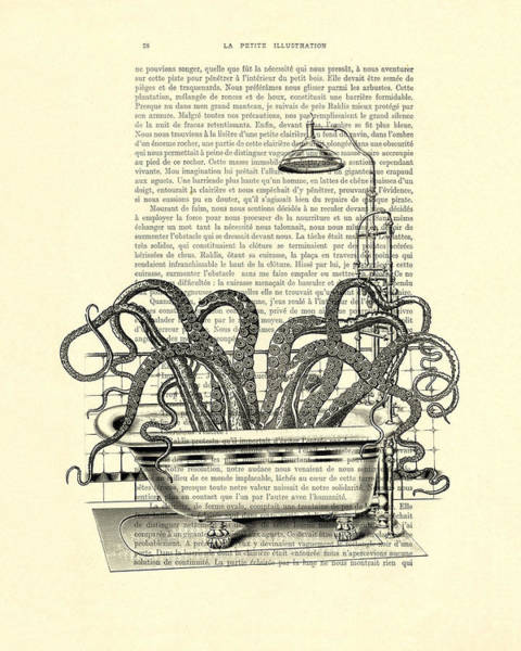 Vintage Books Wall Art - Digital Art - Octopus Taking A Bath by Madame Memento