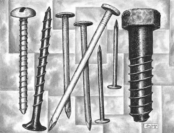 Wall Art - Drawing - Odds And Ends by Adam Zebediah Joseph