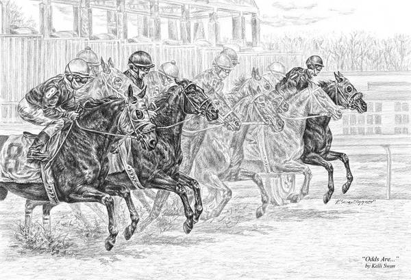 Drawing - Odds Are... - Tb Race Horse Print by Kelli Swan