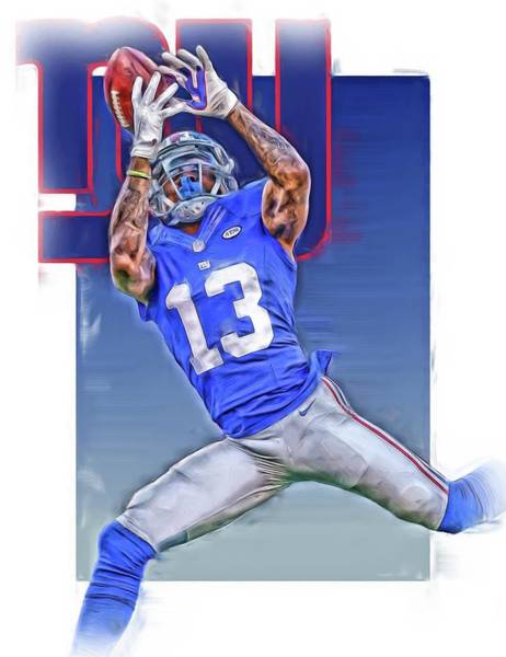 Super Bowl Mixed Media - Odell Beckham Jr New York Giants Oil Art by Joe Hamilton