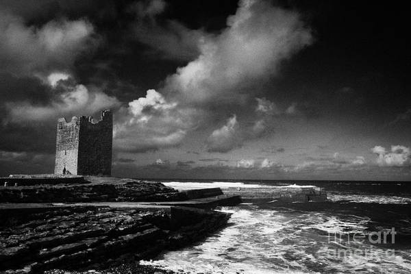 Wall Art - Photograph - O'dowds Rosslea Castle And Easkey Pier Easkey County Sligo Republic Of Ireland by Joe Fox