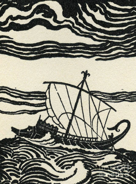 Galleons Wall Art - Drawing - Odysseus's Ship by Newell Convers Wyeth