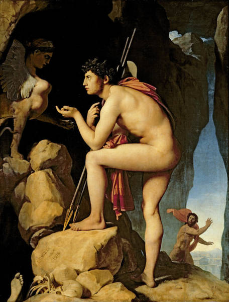 Wall Art - Painting - Oedipus And The Sphinx by Jean Auguste Dominique Ingres