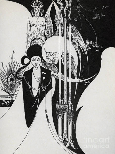 Satan Painting - Of A Neophyte And How The Black Art Was Revealed Unto Him by Aubrey Beardsley
