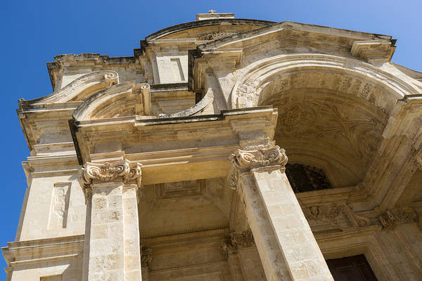 Photograph - Of Arches And Stone Carvings - St Catherine Of Italy Church In Valletta Malta by Georgia Mizuleva