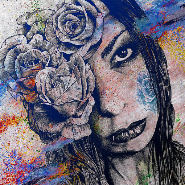 Lip Piercing Wall Art - Drawing - Of Blue Suffering by Marco Paludet