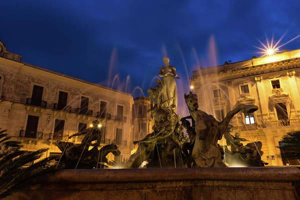 Photograph - Of Rearing Sea Horses And Mermen Riders - Diana Fountain In Syracuse Sicily by Georgia Mizuleva