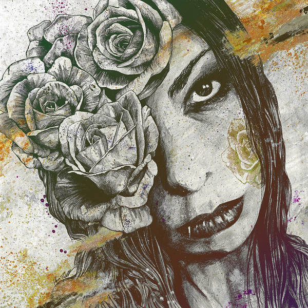 Lip Piercing Wall Art - Drawing - Of Suffering - Autumn by Marco Paludet
