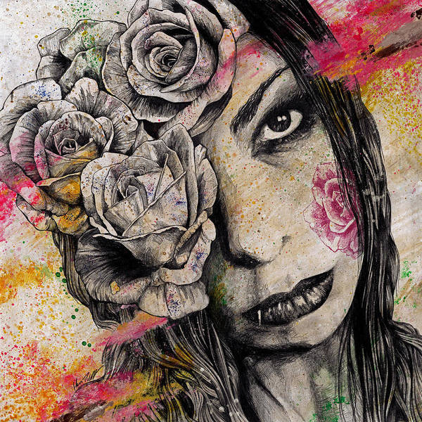 Lip Piercing Wall Art - Drawing - Of Suffering by Marco Paludet