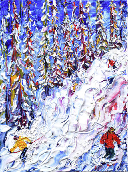 Painting - Off Piste In The Woods Above Morzine by Pete Caswell
