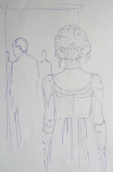 Drawing - Off To Dinner - Line Illustration Of A Young Woman In A Twenties Period Dress by Mike Jory