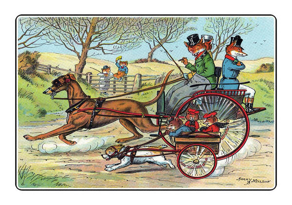 Caricature Mixed Media - Off To The Hunt By Trap by Harry Neilson