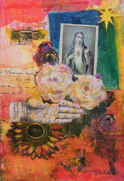 Sacred Heart Mixed Media - Offering For Mary by Cheryl Gaines