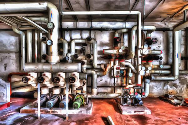 Photograph - Office Building Pump Room - Sala Pompe Palazzo Abbandonato Paint by Enrico Pelos