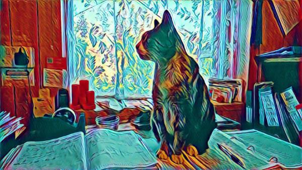 Digital Art - Office Cat by Samuel Pye