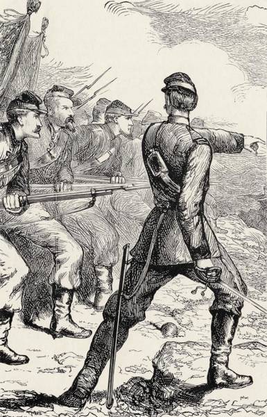 Log Drawing - Officer Leading Attack In American by Vintage Design Pics