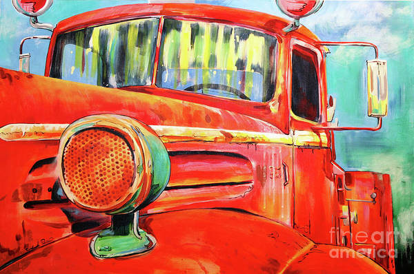 Vintage Fire Truck Painting - Officially Retired  by Joseph Palotas