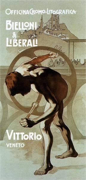 Lithography Wall Art - Mixed Media - Officina Cromo-litografica - Bielloni And Liberali - Vittorio Veneto - Print Advertisement by Studio Grafiikka