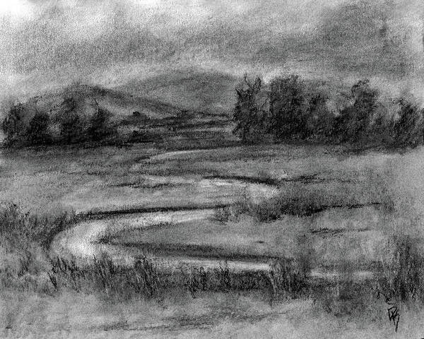Grass Field Drawing - Ogden Valley Marsh Study by David King