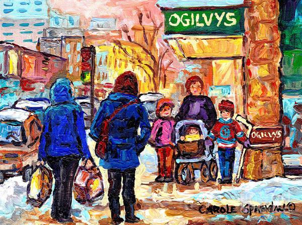 Painting - Ogilvy's Beautiful Sunny Winter Stroll Downtown Montreal City Scene Painting Carole Spandau          by Carole Spandau