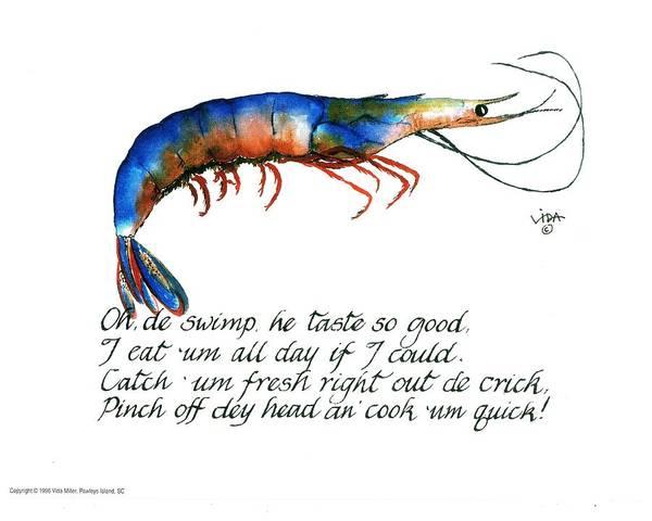 Shrimp Painting - Oh De Swimp by Vida Miller