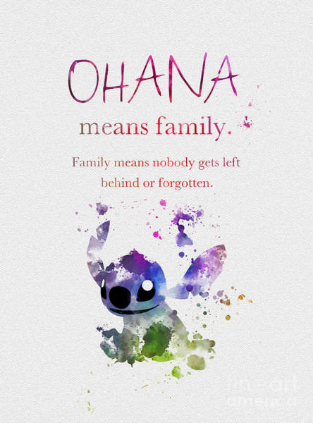 Stitches Wall Art - Mixed Media - Ohana Means Family 3 by My Inspiration