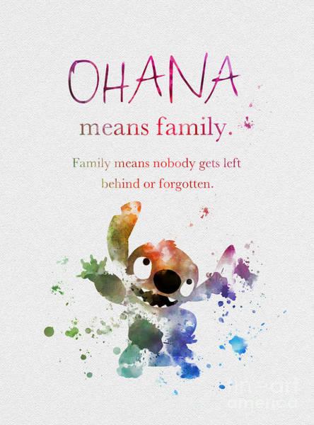 Stitches Wall Art - Mixed Media - Ohana Means Family by My Inspiration