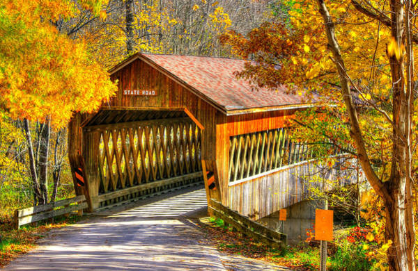 Kingsville Photograph - Ohio Country Roads - State Road Covered Bridge Over Conneaut Creek No. 11 - Ashtabula County by Michael Mazaika