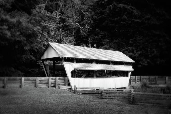 Country Photograph - Ohio Covered Bridge In Black And White by Tom Mc Nemar