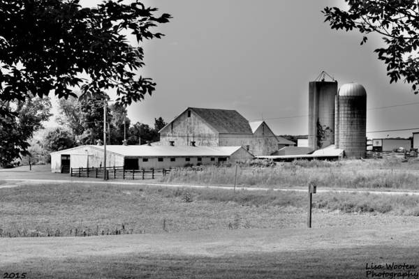 Photograph - Ohio Farm House Black And White by Lisa Wooten