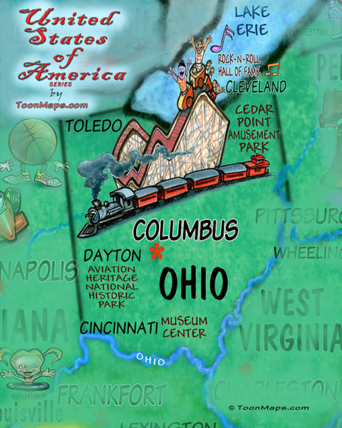 Digital Art - Ohio Fun Map by Kevin Middleton
