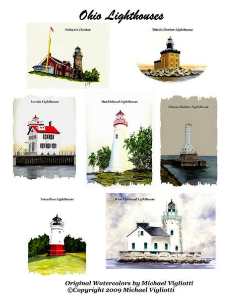 Toledo Painting - Ohio Lighthouses Montage by Michael Vigliotti