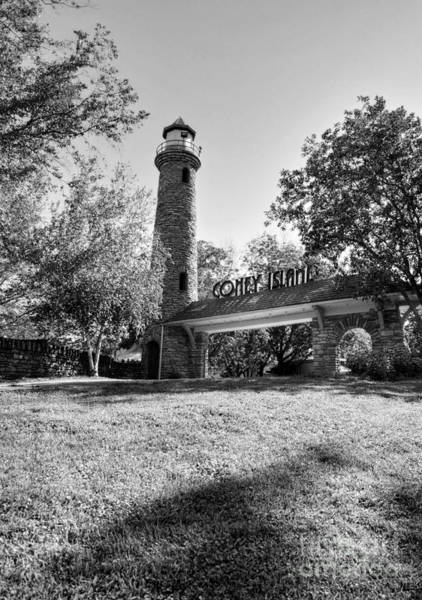 Photograph - Ohio River Entrance To Coney Island Bw by Mel Steinhauer
