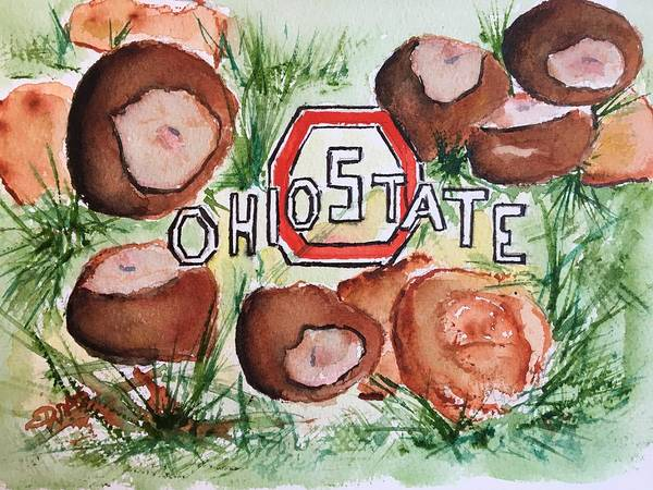 Wall Art - Painting - Ohio State Buckeyes by Elaine Duras